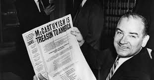 Sen. Joseph McCarthy with anti-McCarthyism headline