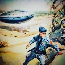 Painting of Lonnie Zamora being a flying saucer.