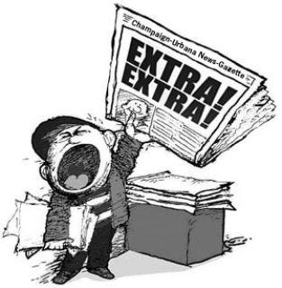 vintage cartoon of newsboy