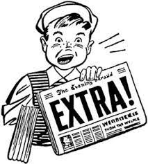 Vintage cartoon of newsboy shouting Extra.