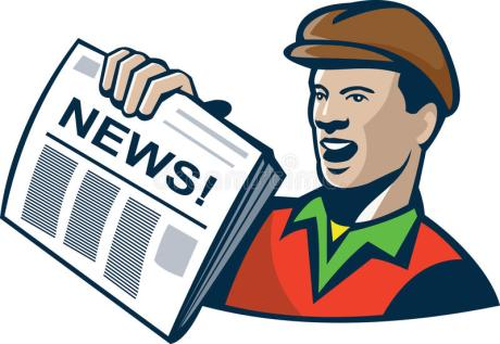 Retro cartoon of an old time newspaper boy.