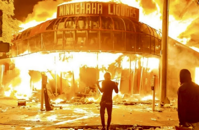 Burning store in Minneapolis during BLM riots.