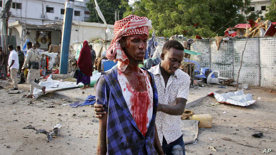 Somali man with bloody head.
