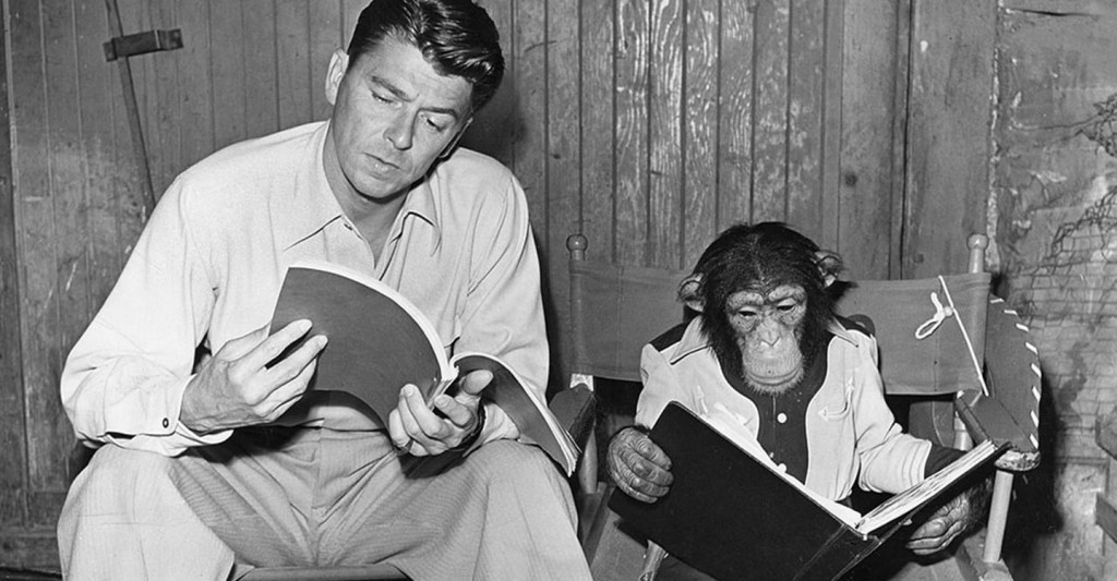 Ronald Reagan and Bonzo the Chimp.