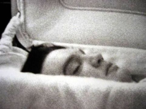 Elvis Presley in his coffin.