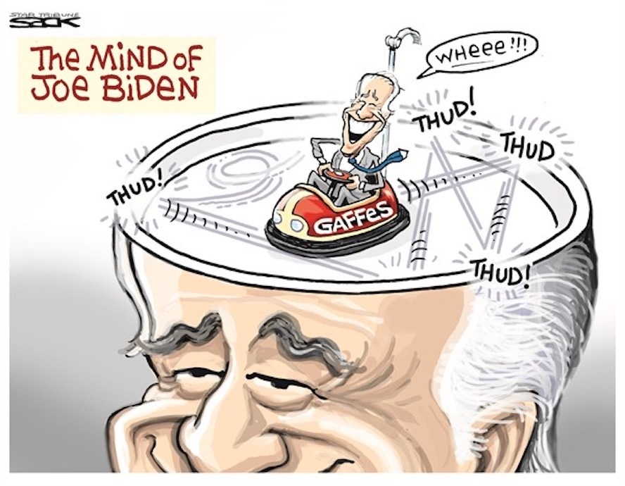 Cartoon of Joe Biden with a bumper car brain