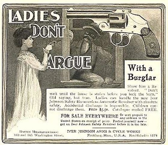 Vintage magazine ad for armed woman and burglar