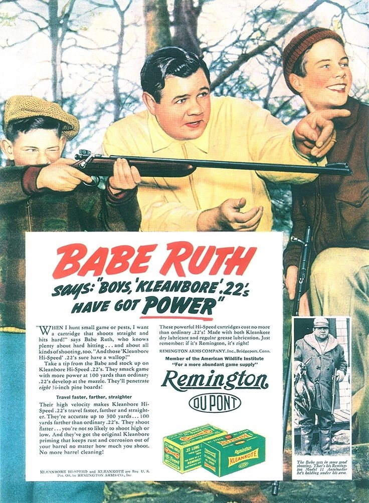 Vintage Babe Ruth gun ad
