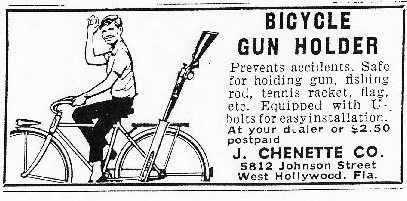 Vintage Bicycle gun holder ad