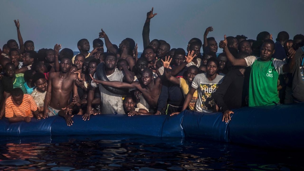 African migrants on raft