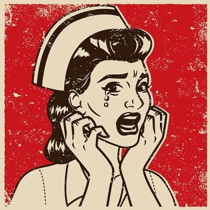 Cartoon nurse crying