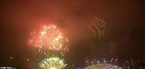 BLM fist in fireworks over London