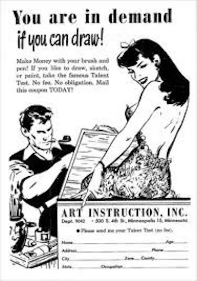 Vintage ad for art instruction