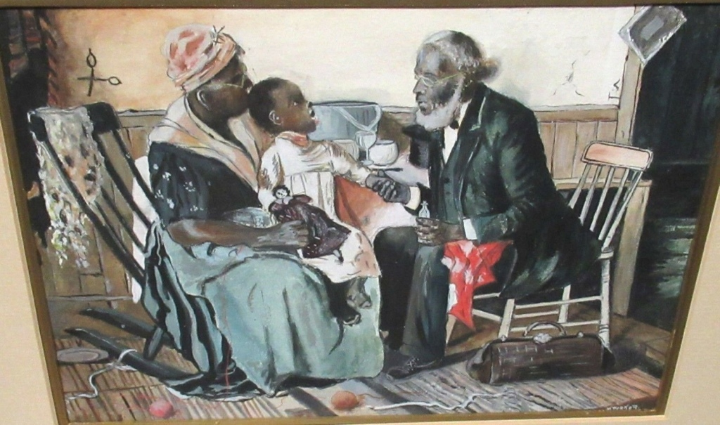 Vintage painting of Black doctor home visit