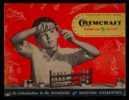 vintage ad for chemistry set