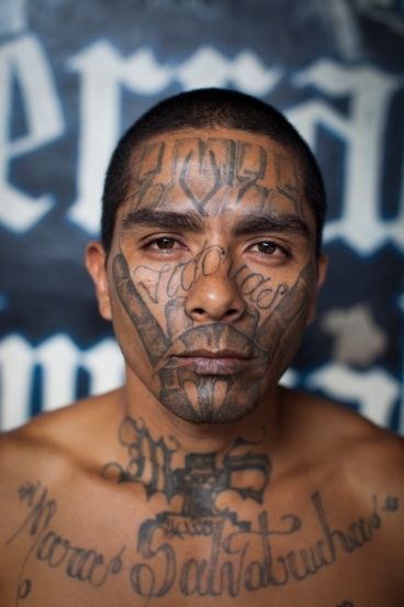 MS 13 member with tattooed face