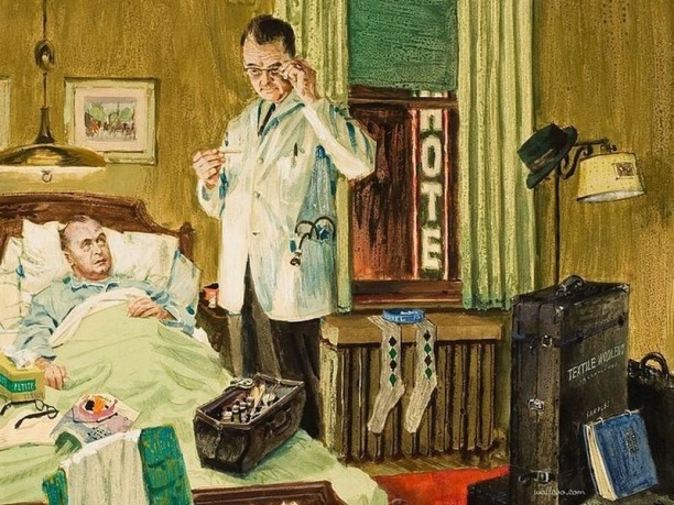 Vintage painting of doctor in hotel room