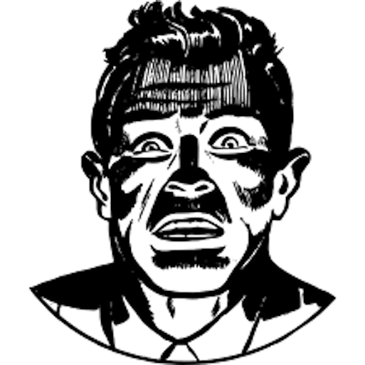 Black & White sketch of horrified male face