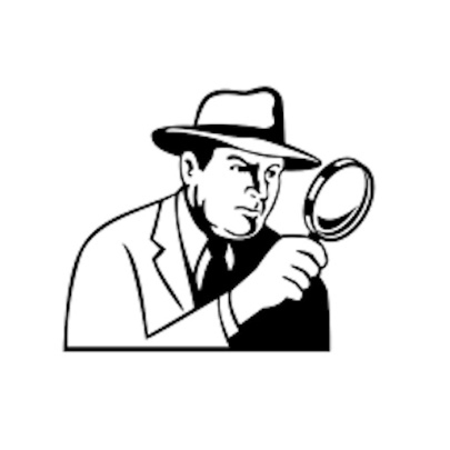 Sketch of detective with magnifying glass