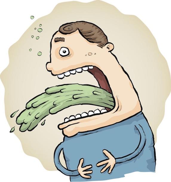 Cartoon man vomiting
