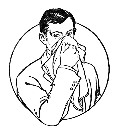 Vintage drawing of man sneezing into hanky