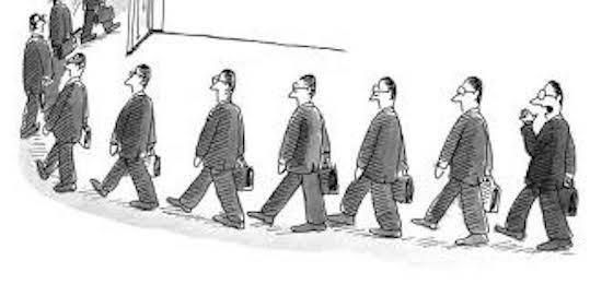Cartoon of men following the leader