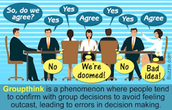 Cartoon of group think