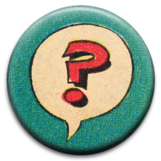 Button with vintage question mark