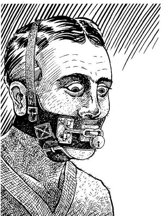 Vintage sketch of man in S&M muzzle