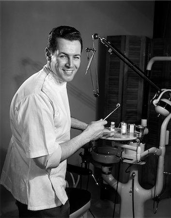 Vintage photo of dentist