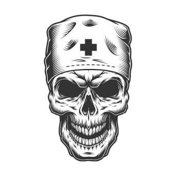 Grinning skull with nurse cap